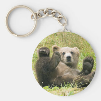 Cute brown grizzly bear cub photo, gift basic round button key ring