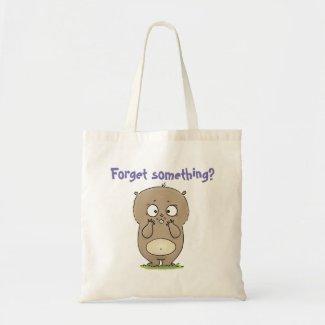 Cute brown hamster forget something cartoon tote bag