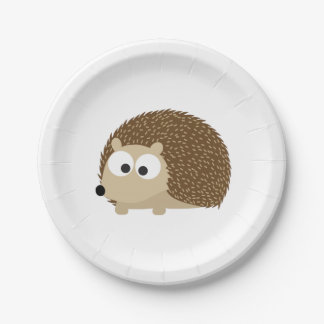 Cute Brown Hedgehog Paper Plate