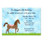 Cute Brown Horse Pony Rides Girls Birthday Party 13 Cm X 18 Cm Invitation Card