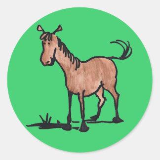 Cute Brown Horse Round Sticker