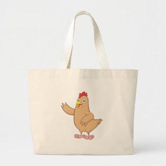 Cute Brown Mother Hen Waving Wings Hi Hello Welcom Jumbo Tote Bag