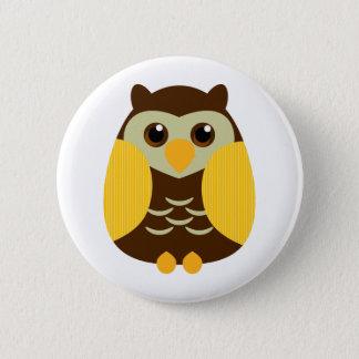 Cute Brown Owl 6 Cm Round Badge