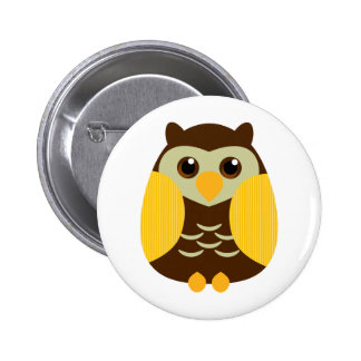 Cute Brown Owl 6 Cm Round Badge