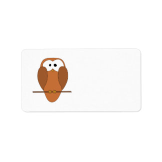 Cute Brown Owl Address Label