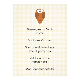 Cute Brown Owl Beige Check Background Personalized Announcement