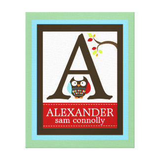 Cute Brown Owl Canvas Letter Name Print 16x20
