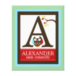 Cute Brown Owl Canvas Letter Name Print 16x20 Gallery Wrap Canvas
