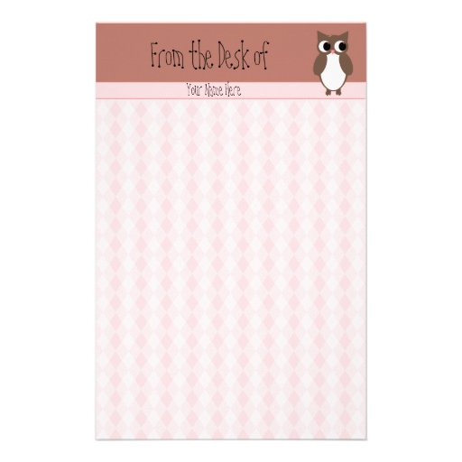 Cute Brown Owl Custom Stationery Paper