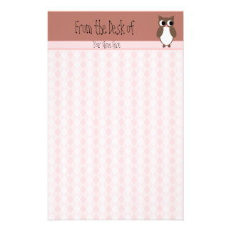 Cute Brown Owl Custom Stationery Paper
