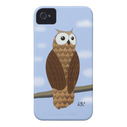 Cute Brown Owl in Blue Sky Blackberry Bold Case