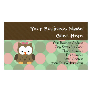 Cute Brown Owl w Pink Bow Business Card Template
