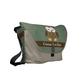 Cute Brown Owl w/Pink Bow Messenger Bag