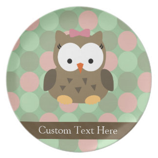 Cute Brown Owl w/Pink Bow Plate