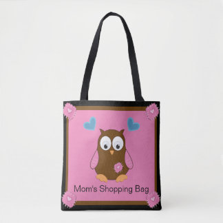 Cute Brown Owl with Pink Wings Personalized Tote Bag