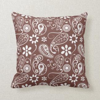 Cute Brown Paisley Pattern Cushion