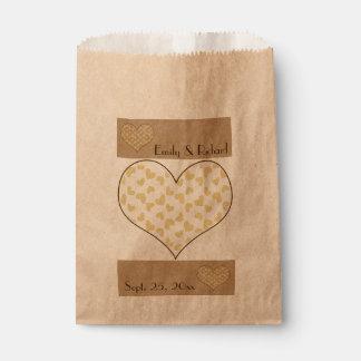 Cute Brown Paper Heart Wedding Reception Favour Bags