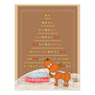 cute brown poodle Christmas card