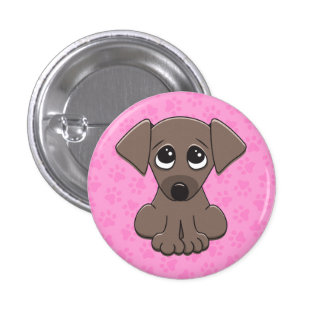 Cute brown puppy dog with big begging eyes pin