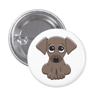 Cute brown puppy dog with big begging eyes buttons