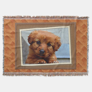 Cute Brown Puppy Photography Print Throw Blanket