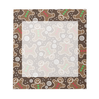 Cute Brown Red Green Christmas Gingerbreads Notepad
