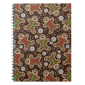 Cute Brown Red Green Christmas Gingerbreads Spiral Notebook
