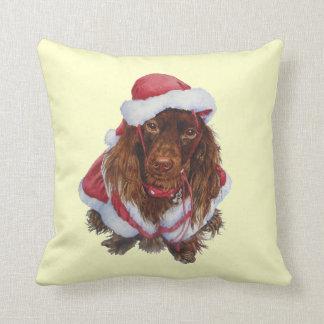 Cute brown spaniel dog realist art Christmas Cushion