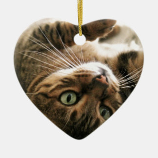 Cute Brown Spotted Bengal Cat Kitten Lying in Bed Christmas Ornament