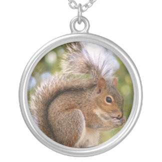 Cute brown squirrel silver plated necklace