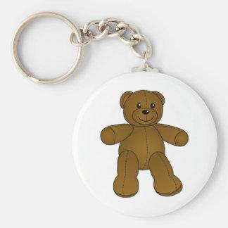 Cute brown teddy bear basic round button key ring