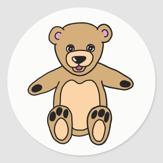 Cute Brown Teddy Bear Classic Round Sticker