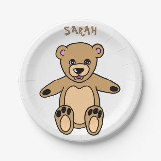 Cute Brown Teddy Bear Name 7 Inch Paper Plate