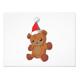 Cute Brown Teddy Bear Red Santa Hat Invitations Photo