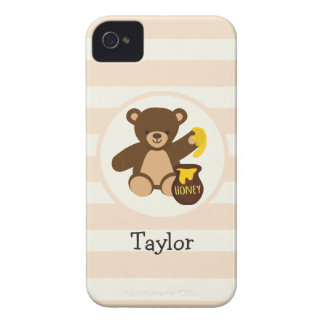Cute Brown Teddy Bear with Yellow Honey iPhone 4 Cases