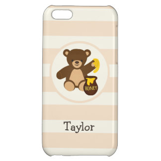 Cute Brown Teddy Bear with Yellow Honey Cover For iPhone 5C