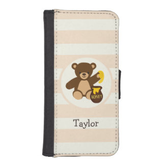 Cute Brown Teddy Bear with Yellow Honey Phone Wallets
