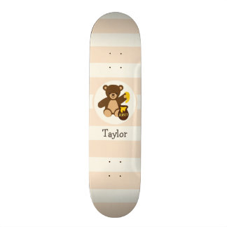 Cute Brown Teddy Bear with Yellow Honey Skate Boards