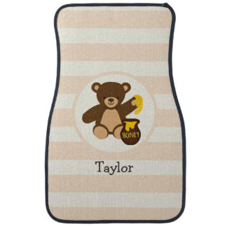 Cute Brown Teddy Bear with Yellow Honey Floor Mat