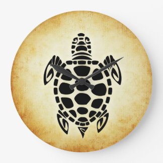 Cute Brown Tribal Tortoise Turtle Large Clock