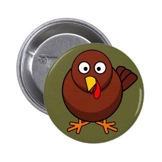 Cute Brown Turkey Button Pin