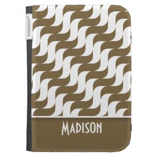 Cute Brown Wave Retro Kindle Folio Case