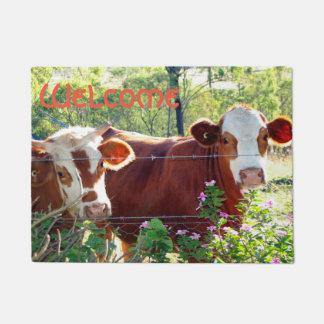 Cute Brown &White Dairy Cow Cattle Heifers Photo Doormat