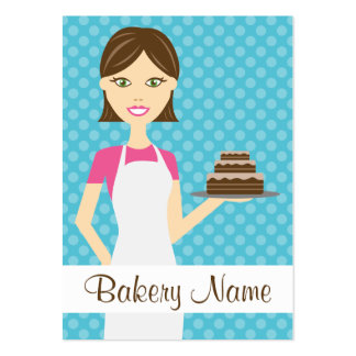 Cute Brunette Baker Woman Illustration Pack Of Chubby Business Cards