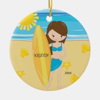 Cute Brunette Surfer Girl Personalized Christmas Christmas Ornament