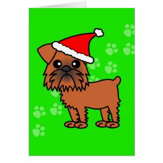 Cute Brussels Griffon Cartoon Santa Hat Greeting Card