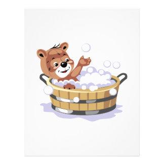 cute bubble bath bear flyer design