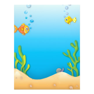 cute bubble fish underwater scene 21.5 cm x 28 cm flyer