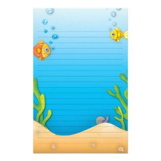 cute bubble fish underwater scene stationery design