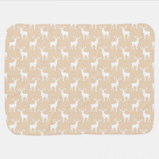 Cute Buck Deer Pattern in Brown and White Baby Blanket